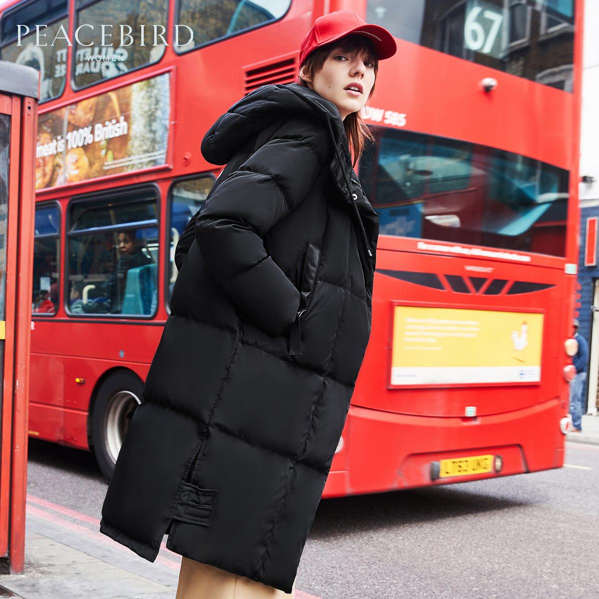 太平鳥女裝冬裝新款加厚保暖連帽羽絨服女中長款 過膝外套女