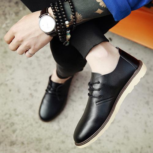 男鞋春季潮鞋夏季新款男士皮鞋商务休闲鞋青年韩版大头工装鞋防水