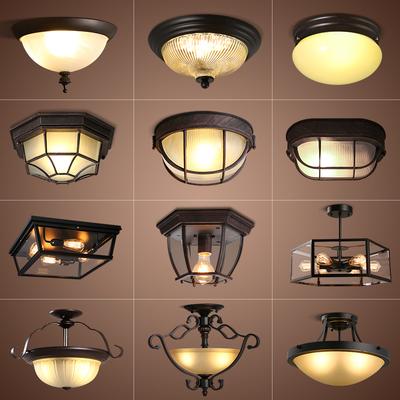 美式乡村复古工业风铁艺阳台吸顶灯过道玄关走廊入户厨房家用灯具
