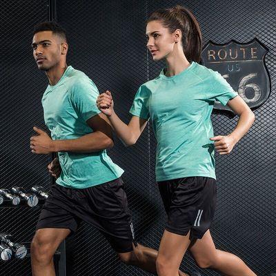 夏季运动套装男女短袖跑步服速干衣健身T恤五分短裤薄款运动服装