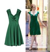 大V领连衣裙 爱乐之城女主同款 艾玛斯通绿色性感漏背长裙公主裙