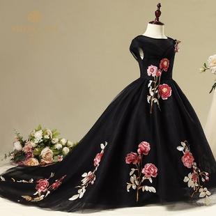公主裙女童晚礼服黑色拖尾裙蓬蓬纱儿童走秀礼服中大童钢琴演出服