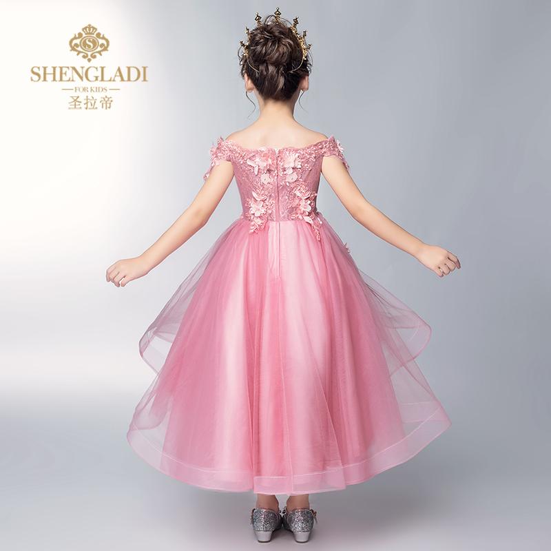 儿童礼服公主裙2018新款一字肩花童礼服女结婚婚纱女童走秀晚礼服