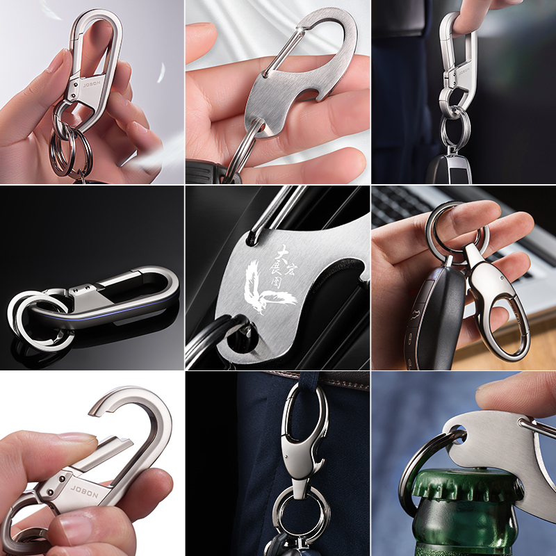 高档汽车钥匙扣链男士简约腰挂创意定制刻字不锈钢钥匙圈环挂件女