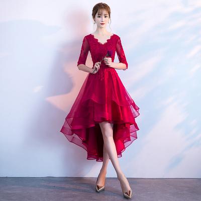 色短款晚礼服