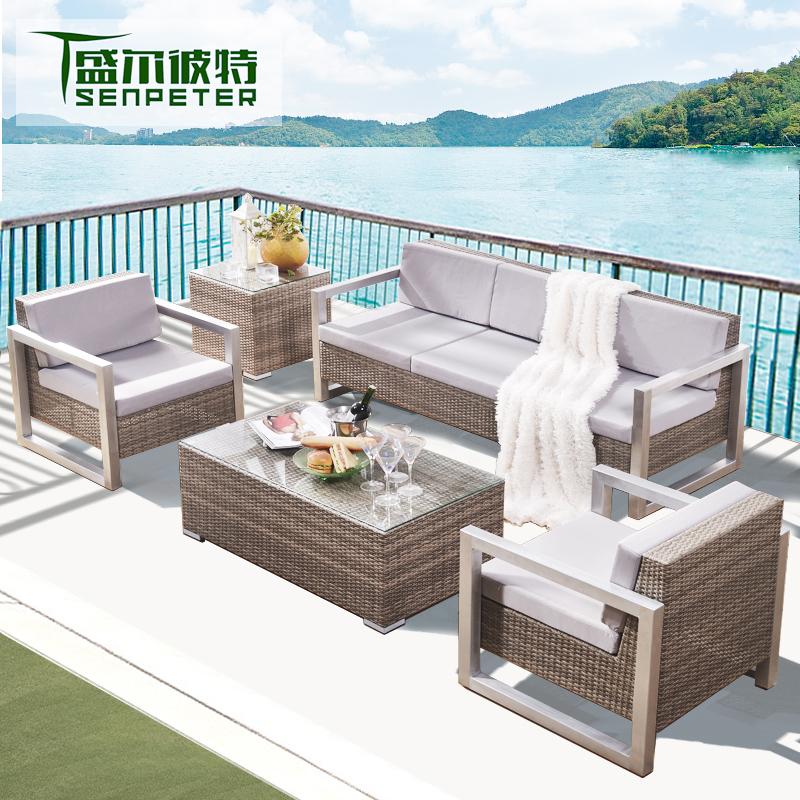 藤沙发椅组合三件套庭院沙发户外休闲沙发单人简约现代阳台小沙发