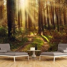 3D立体田园风树林墙纸森林客厅电视背景墙壁纸卧室自然风光壁画