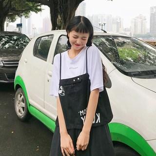 2019夏季新款韩版中长款大码女装t恤胖mm学生牛仔吊带两件套装