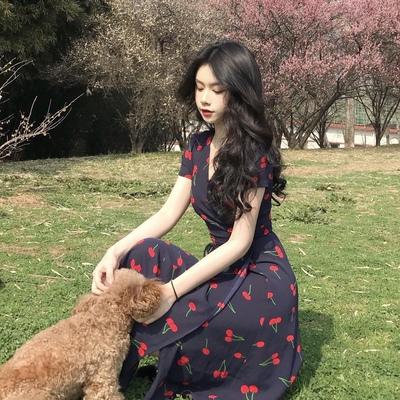 扑啦啦 韩风Chic小清新樱桃印花V领短袖连衣裙系带修身显瘦中长裙