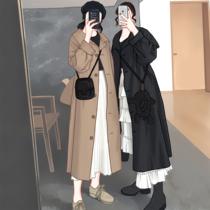 S17481881冬装酷黑简约帅气占领工装长款毛呢大衣2018圣迪奥sdeer