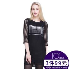 秋季新款 连衣裙两件套ECB935GA09 网格七分袖 拉谷谷 Lagogo