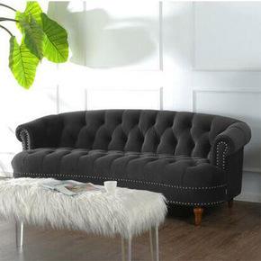 定制样板间售楼部绒布拉扣三人双人沙发后现代简约欧式客厅沙发