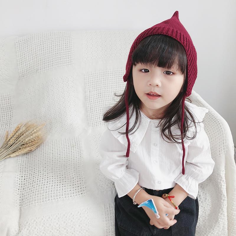 小童女童衬衫长袖韩版2019新款儿童宝宝衬衣上衣白色荷叶领娃娃衫