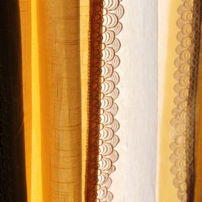 【归雁】点睛专业定制做 纯色拼接蕾丝棉麻亚麻窗帘 环保加厚客厅