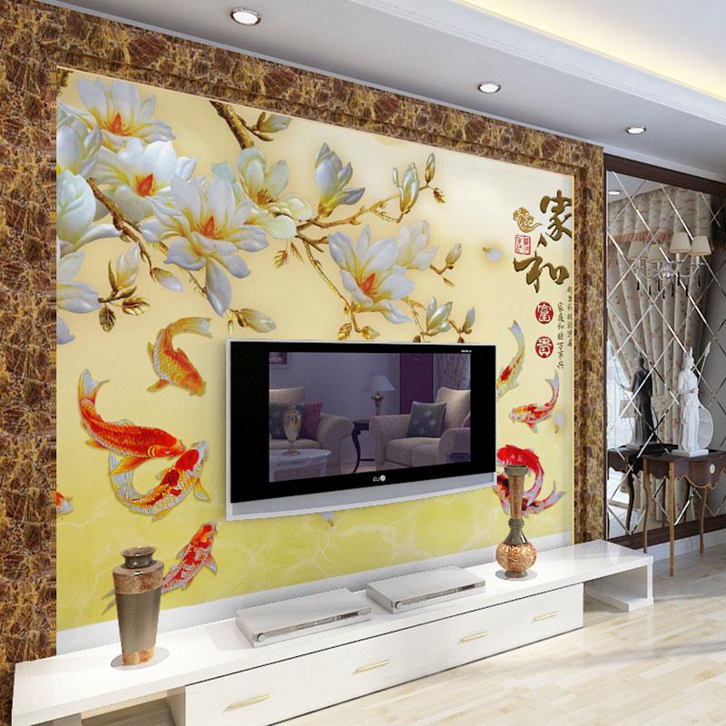 立体无缝壁画 3d 电视背景墙壁纸客厅卧室墙纸大型影视墙布中式温馨