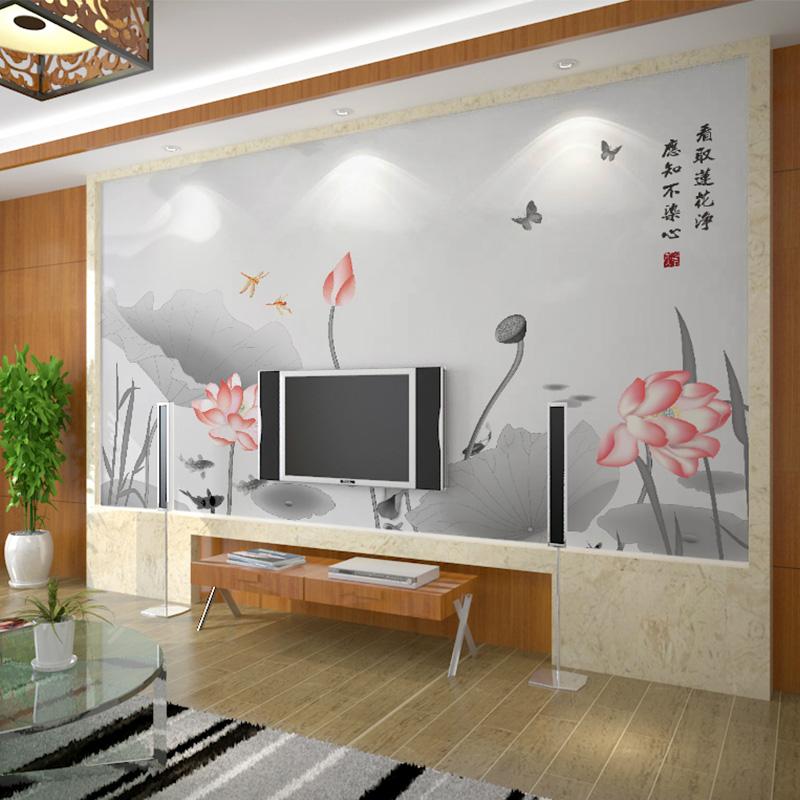 现代新中式墙纸电视沙发背景墙写意抽象水墨荷花壁纸花鸟壁画墙布