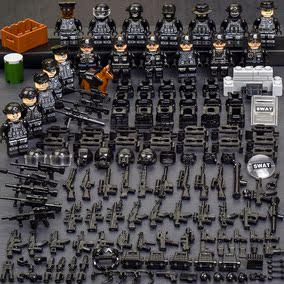 乐高军事人仔拼装积木警察小人偶武装特种兵儿童益智玩具