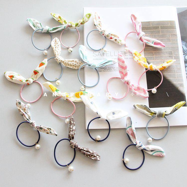 可爱兔耳朵儿童发饰发圈 珠珠吊坠皮筋头绳