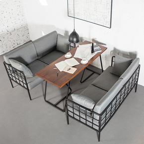 欧式简约咖啡厅沙发卡座复古酒吧创意工业风客厅铁艺沙发桌椅组合