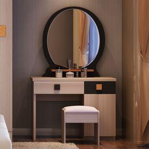 现代简约卧室家具抽屉式带凳子梳妆台特价田园韩式风格收纳化妆桌