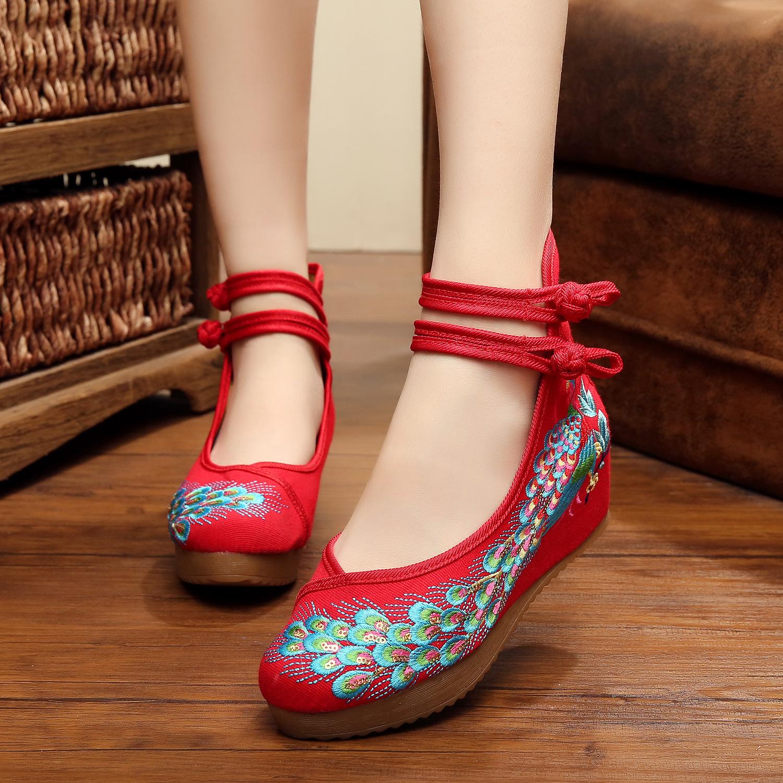 民族亮片高跟鞋