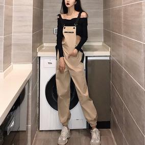 ins超火套装卡其色工装背带裤女韩版休闲阔腿裤+短款一字领上衣潮