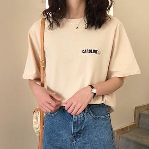 图片:More家小清新短袖T恤女夏装2018新款学生白色字母印花半袖上衣