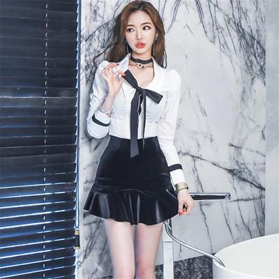 2017秋装新款时尚夜店女装修身显瘦两件套名媛气质套装性感连衣裙