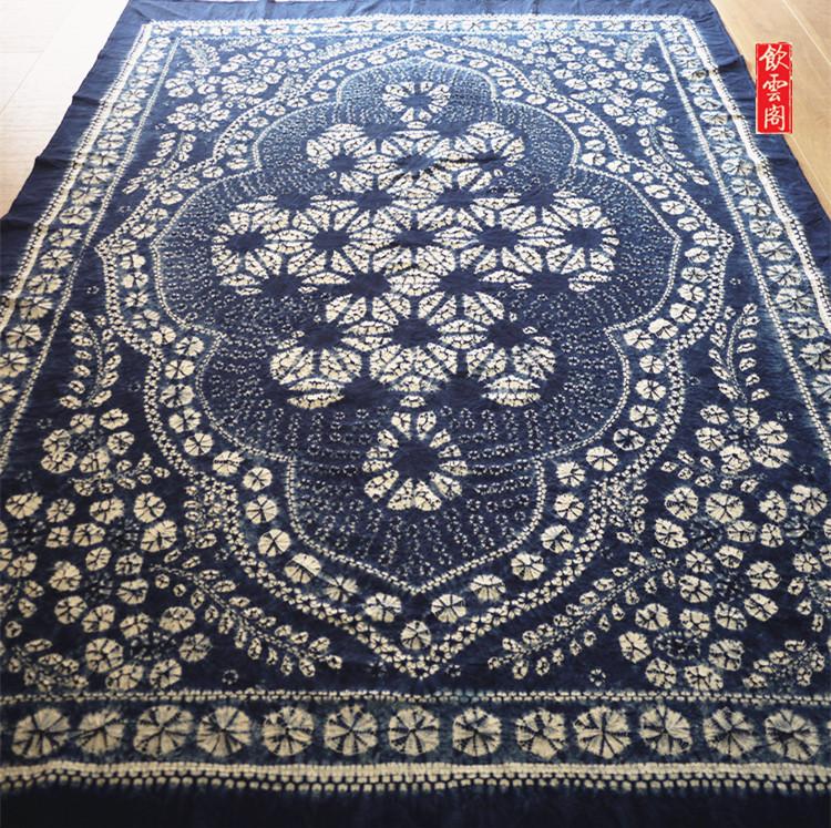 云南大理手工扎染布蓝染纯棉长方桌布送老外民族风礼物收藏级精品