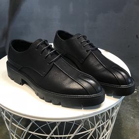 2018夏季男士系带英伦皮鞋 黑色厚底增高鞋布洛克百搭帅气休闲鞋