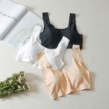 White ice silk strapless bodyless sports vest short with chest cushion wrapped in chest bottom underwear women's bra