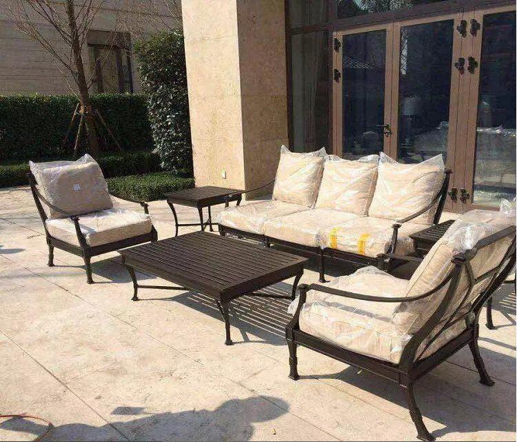 美式l复古户外沙发铁艺休闲沙发椅酒店会所沙发椅单双椅阳台桌椅