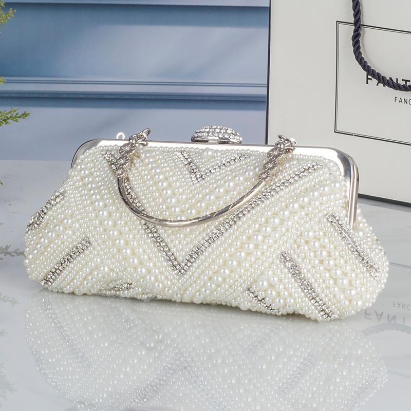 Sweet lady fashion new pearl beaded handbag gorgeous commute OL bag fashion string