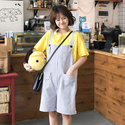 夏装女装新款韩版甜美宽松显瘦条纹连体背带裤学生百搭直筒五分裤