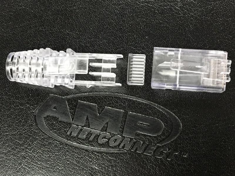 康普amp网线网络水晶头六类非屏蔽千兆水晶头3件套组装