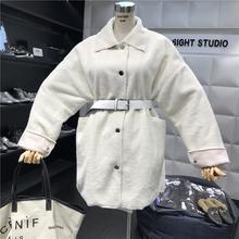 秋冬新款气质纯色单排扣中长款显瘦皮毛一体仿皮草外套女 含腰带