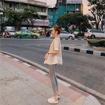 韩版女装新款拼接泡泡袖假两件上衣短袖设计感衬衫百搭娃娃衫夏女