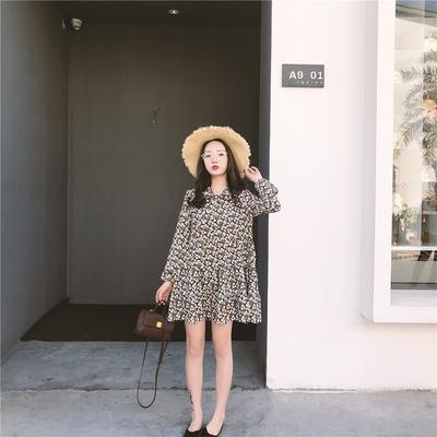 2018新款女装春装超仙碎花连衣裙内搭小个子雪纺短裙a字裙chic潮