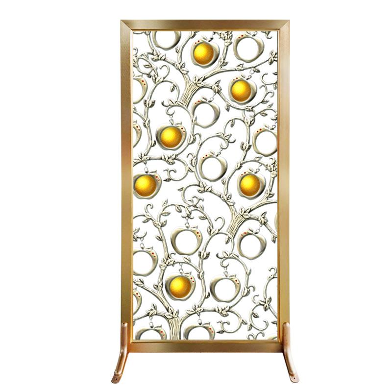 艺术玻璃电视背景墙苹果树隔断客厅屏风玄关简欧式钢化磨砂家装饰