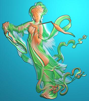 侍女精雕图 美女精雕图 古代美女精雕图 SN-015嫦娥奔月