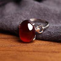 纯银戒指女 活口银首饰镶嵌水晶石榴石戒面银首饰品 送友生日