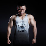 Crispy Studio Quick Grey Gradual Dyeing and Encouragement Printing Leisure Pure Cotton Fitness Sports I-shaped vest