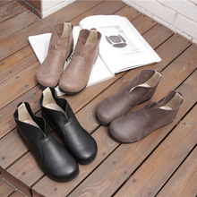 Leather Shoe Girls Spring and Autumn Pure Handmade Head Layer Cowskin Soft Surface Low-heeled Retro-Gusen Winter Shoe Girls
