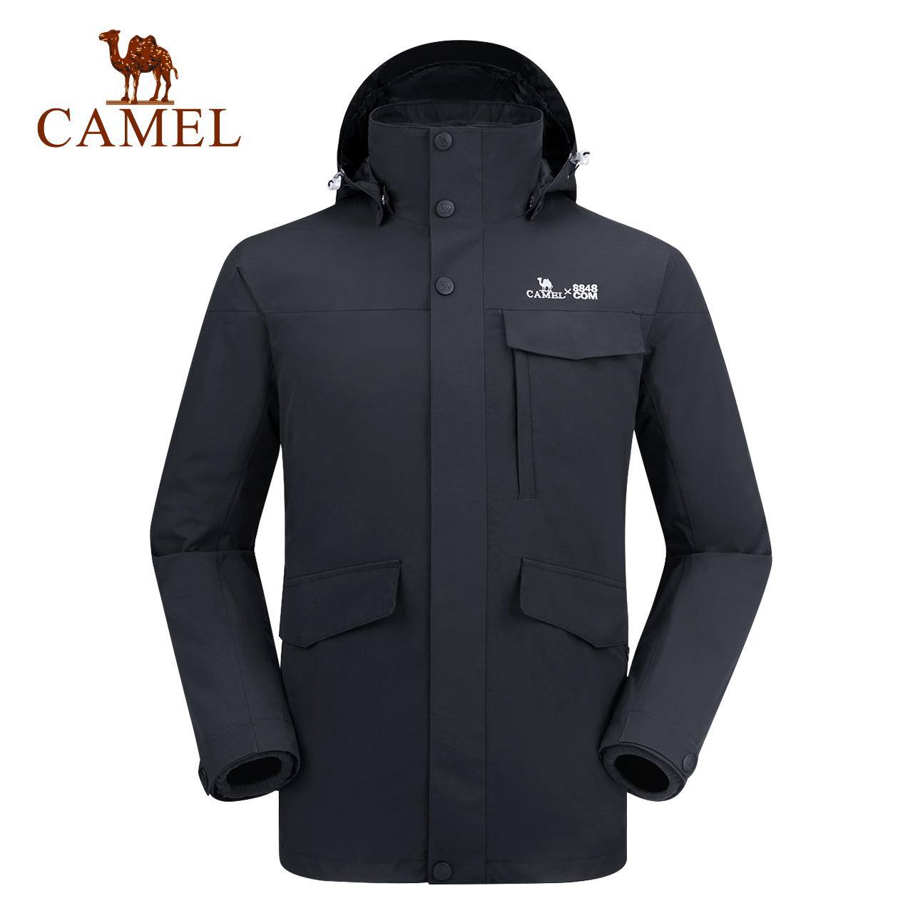 骆驼冲锋衣男女潮牌防风防水加绒加厚可拆卸三合一两件套冲锋衣冬