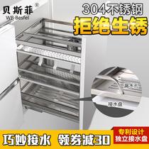 不锈钢抽屉式碗碟篮架缓冲调味篮双层碗篮304帝米尼拉篮厨房橱柜