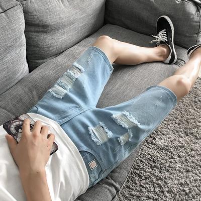 男士牛仔短裤五分裤破洞潮流个性七分裤修身中裤夏季薄款5分裤子7