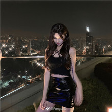 Mirror customized high waist slim leather skirt black autumn and winter bright leather sexy half-length skirt wrapped hip skirt tide