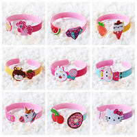 New cute cartoon summer open bracelet children princess bracelet baby girl Kitty cat jewelry
