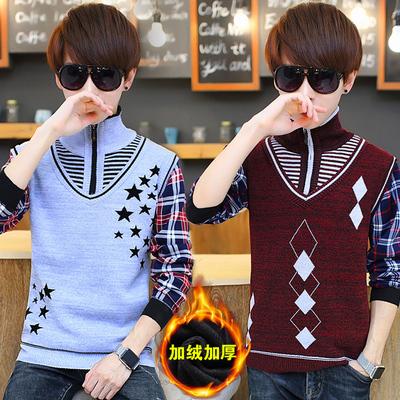 冬季青少年假两件针织衫13男孩14-15-16-17-18岁学生大童加厚毛衣