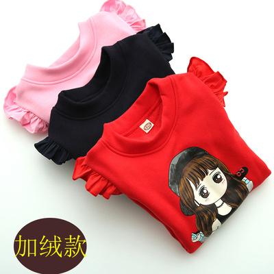 女童加绒打底衫纯棉儿童秋冬装加绒加厚卡通保暖上衣韩版T恤衫潮